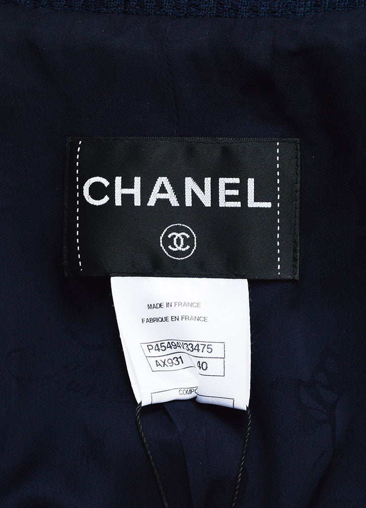 Chanel Navy Ribbed Peak Lapel Three Quarter Sleeve Double Breasted Blazer Brand