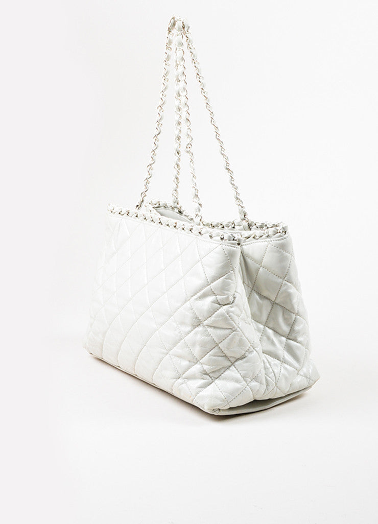 "Chanel White Quilted Leather CC Logo ""Me"" Short Handle Chain Tote Bag Sideview"