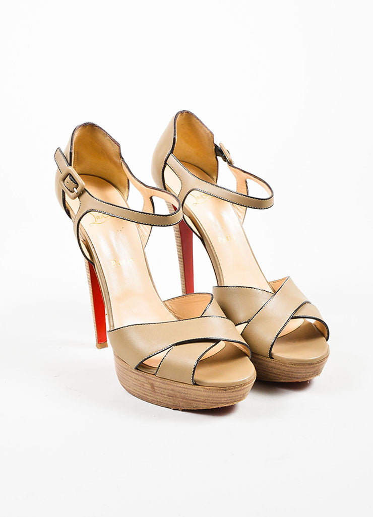 "Christian Louboutin Taupe Leather ""Sporting 140"" Ankle Strap Sandals Frontview"