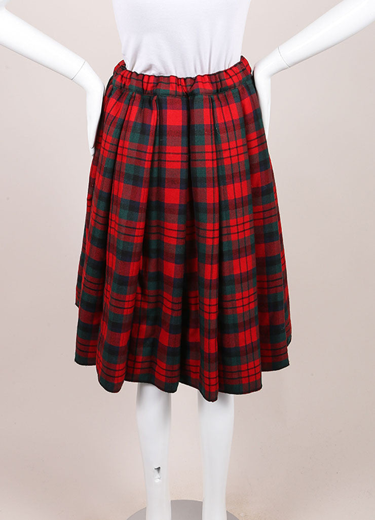 Comme des Garcons Red, Green, and Multicolor Wool Plaid Padded Full Skirt Backview