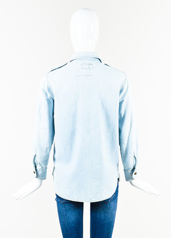 Current/Elliott Light Blue Wash Denim Button Down Long Sleeve Jean Shirt Backview