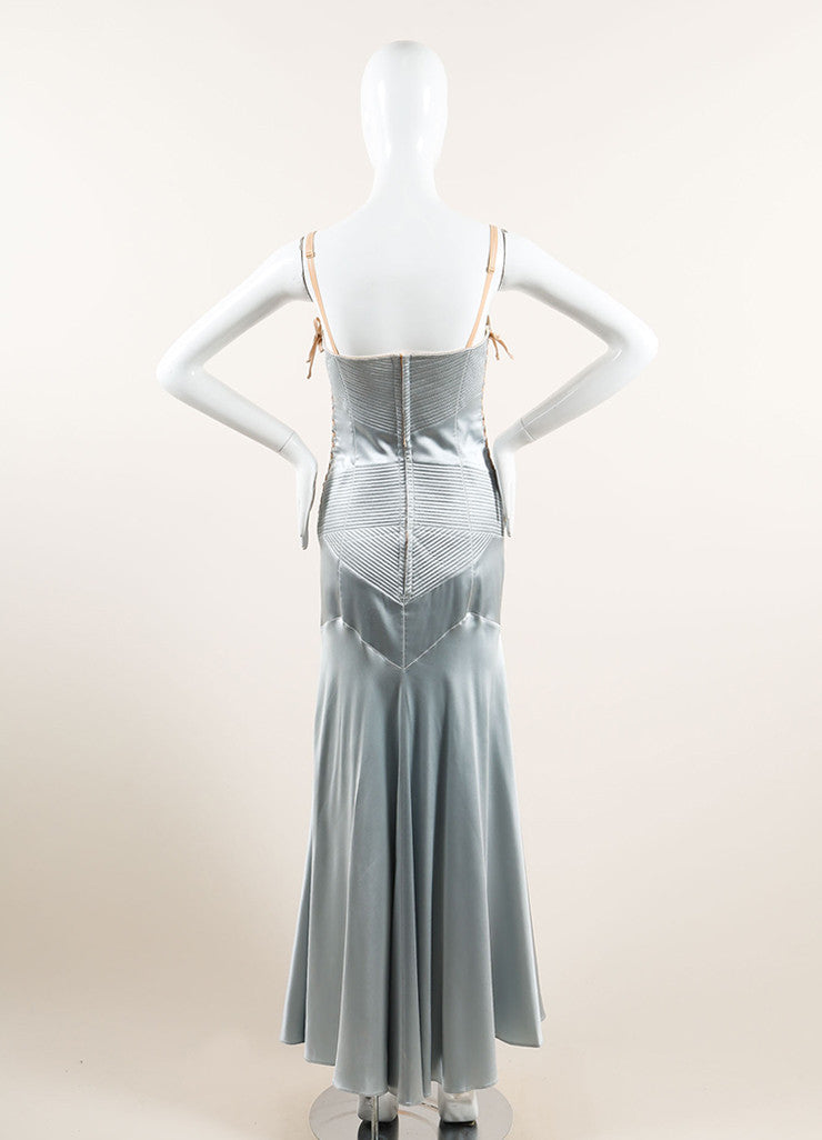 Dolce & Gabbana Light Blue Satin Paneled Lace Up Corset Gown Backview