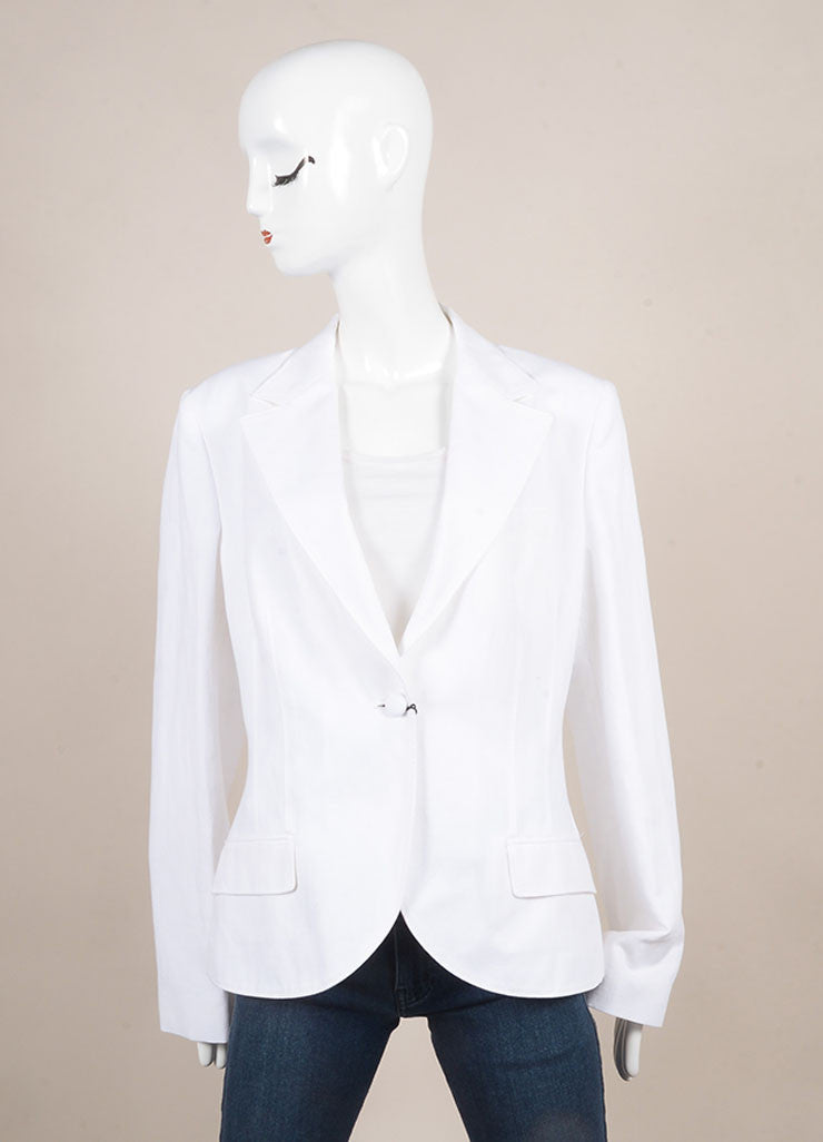 Dolce & Gabbana New With Tags White Cotton and Linen Blazer Frontview