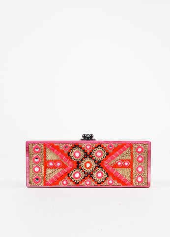 Edie Parker Pink, Gold, and Red Acrylic Embroidered Marble Mirrored Box Clutch Bag frontview