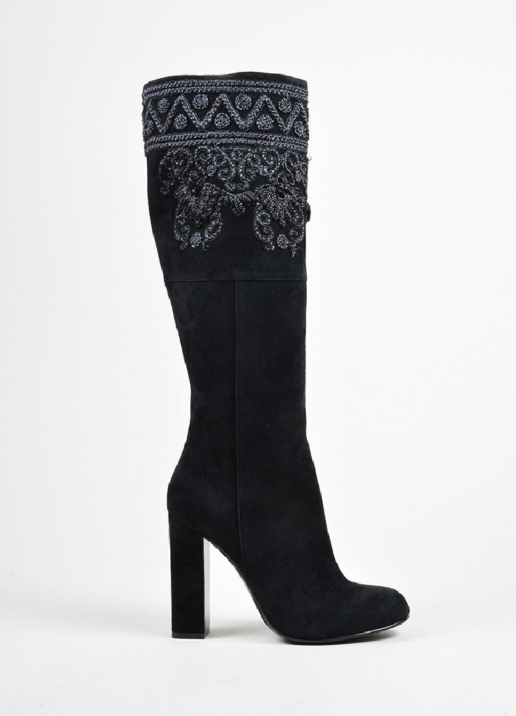 Black Etro Suede Embroidered Knee High Block Heel Boots Sideview