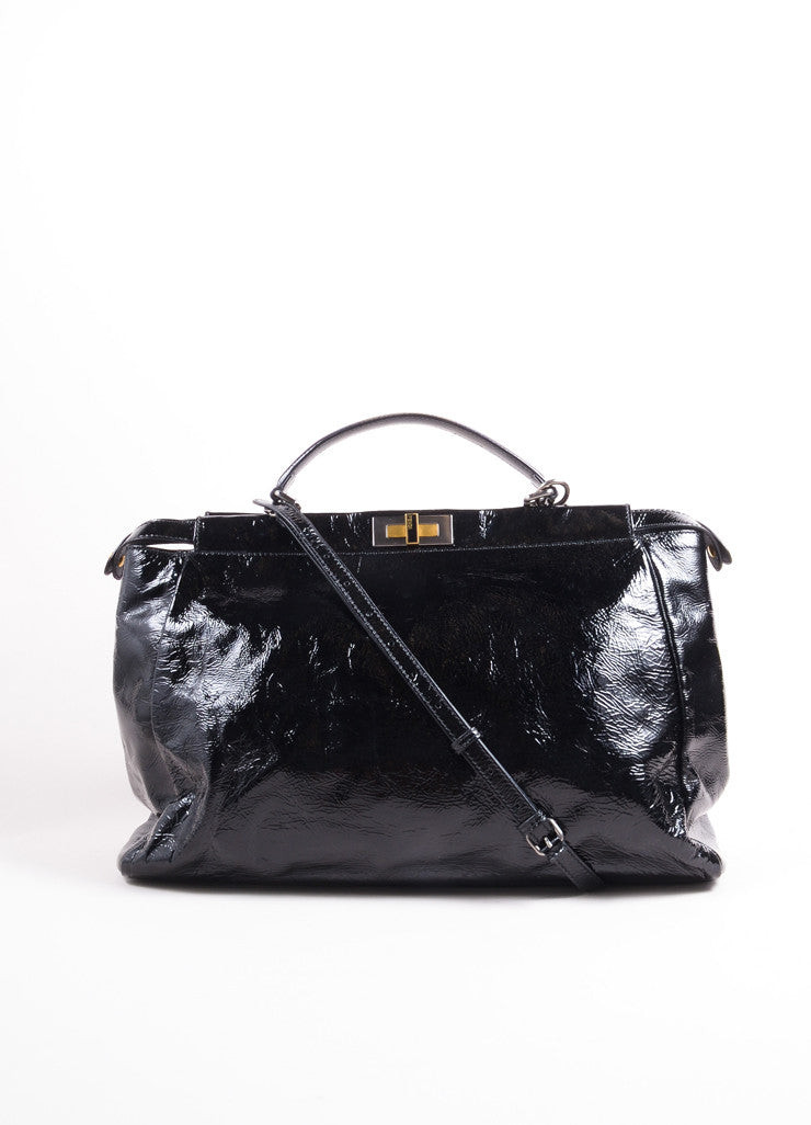 "Fendi Black Patent Leather Wrinkled ""Peekaboo"" Satchel Bag Frontview"