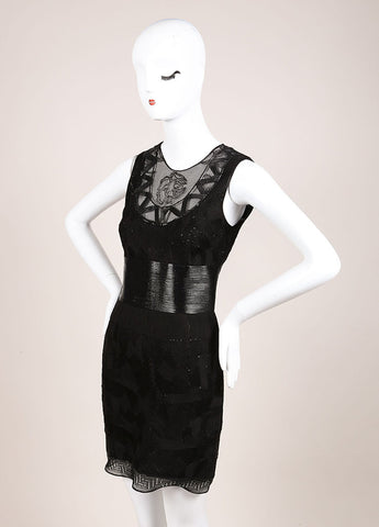Gianni Versace Black Cotton Textured Sheath Dress Sideview
