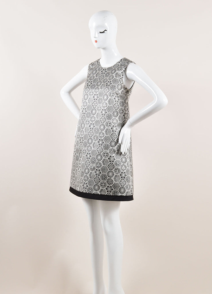 Gucci Black, White, and Metallic Silver Silk Woven Geometric Shift Dress Sideview