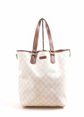 Gucci Cream and Brown Canvas Monogram Tote Bag Front