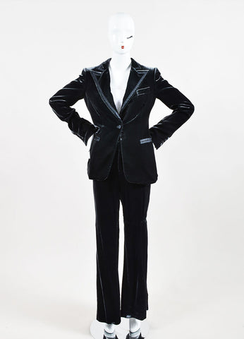 Gucci Grey Velvet and Satin Trim Wide Leg Peak Lapel Tuxedo Pantsuit Frontview