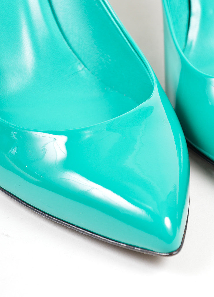 "Gucci ""Spring Water"" Teal Patent Leather Pointed Toe 65mm Pumps Detail"