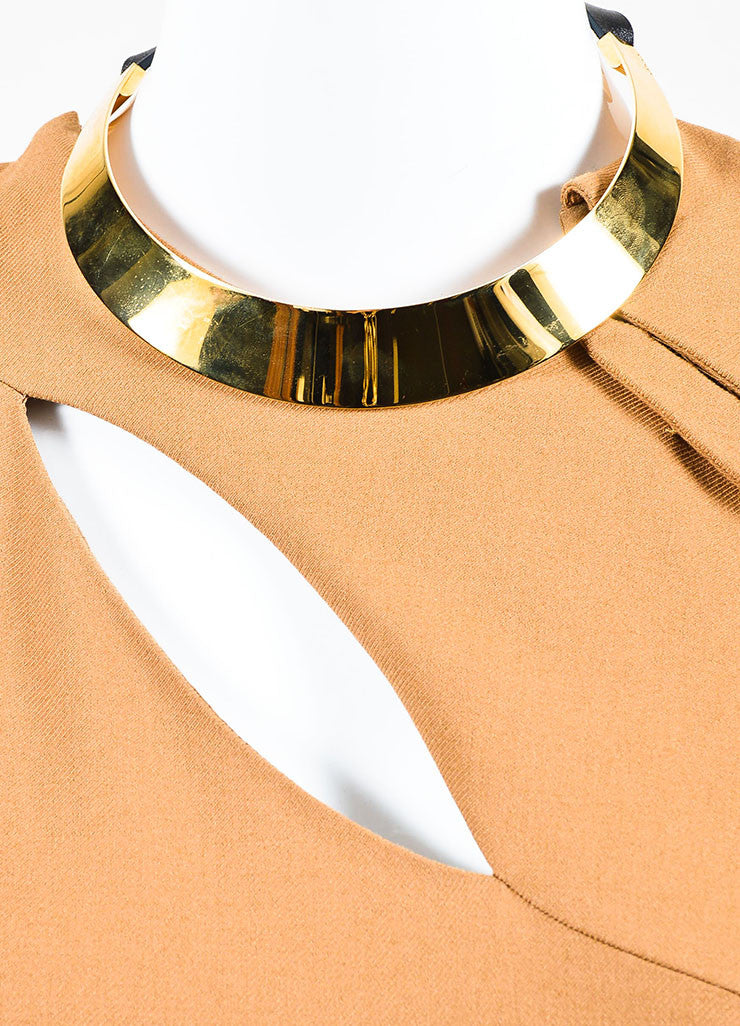 Gucci Tan and Gold Toned Metal Plate Cap Sleeve Necklace Dress Detail