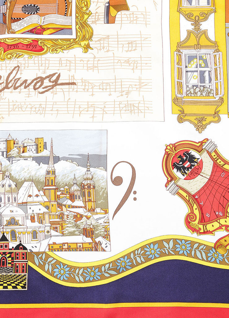 "Hermes Blue, Red, and Gold Silk Musical Theme ""Salzburg"" Scarf Detail"