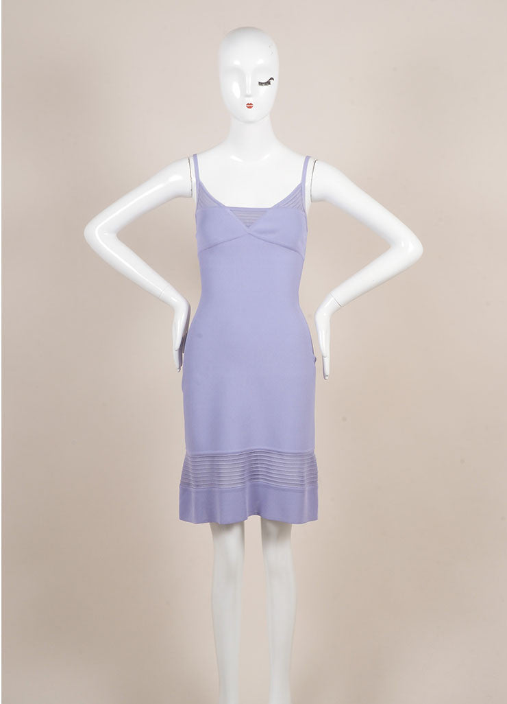 Herve Leger Purple Spaghetti Strap Bodyon Dress Frontview