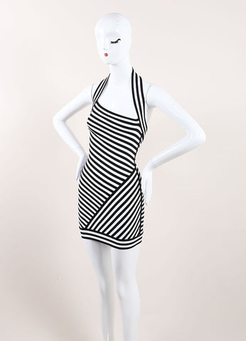 Herve Leroux New With Tags Black and White Striped Bodycon Halter Dress Sideview