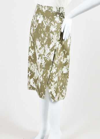 Army Green and Cream Jason Wu Cotton Abstract Print Wrap Skirt Sideview