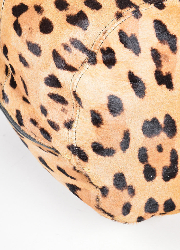 "Tan and Brown Jerome Dreyfuss Pony Hair Leopard Drawstring ""Alain"" Bucket Bag Detail"