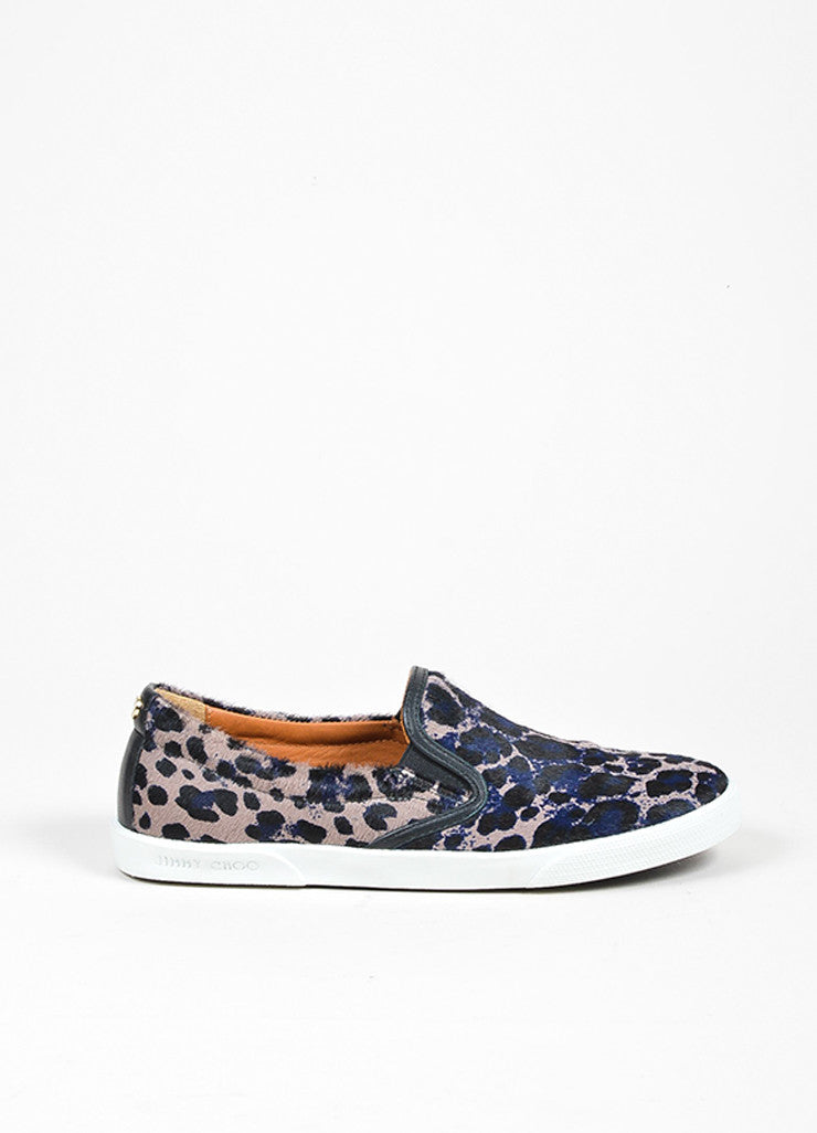 "Grey, Black, and Navy Jimmy Choo Pony Hair Leopard ""Demi"" Sneakers Sideview"