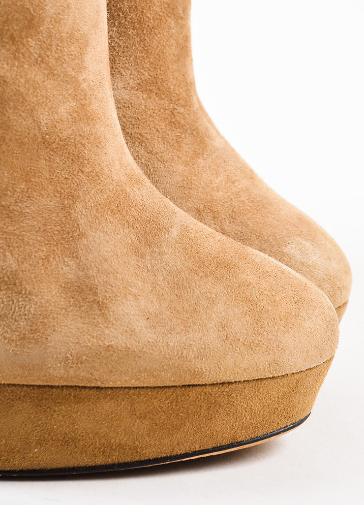 Jimmy Choo Tan Suede Brown Leather Trim Platform Heeled Ankle Booties Detail