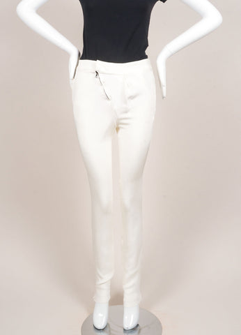 Karolina Zmarlak New With Tags Cream 4-Ply Silk Asymmetric Pleated and Zip Trousers Frontview