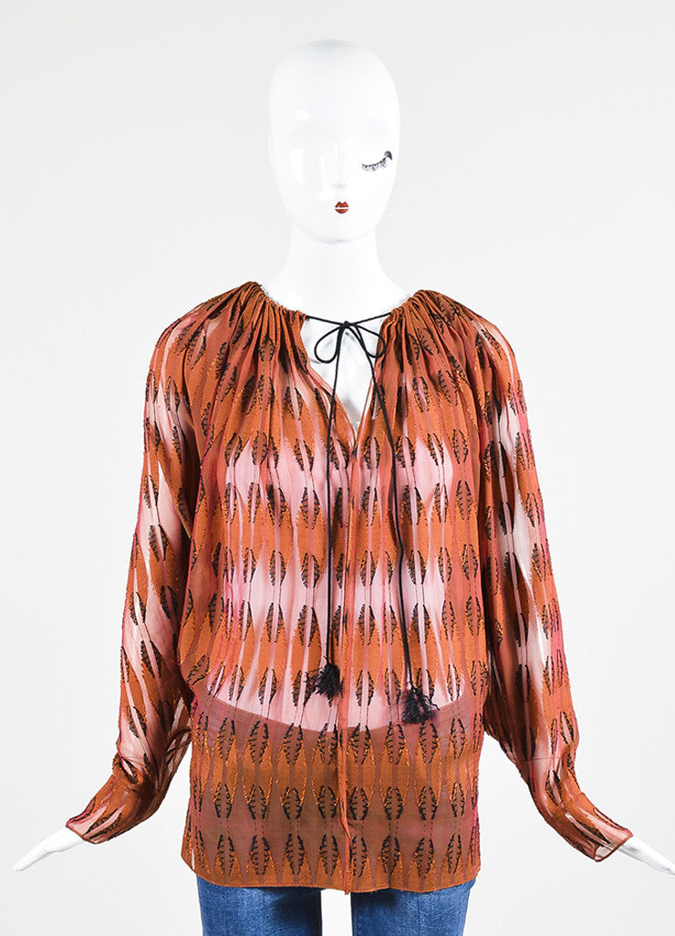 Rust Red and Black Lanvin Semi Sheer Textured Blouse Frontview