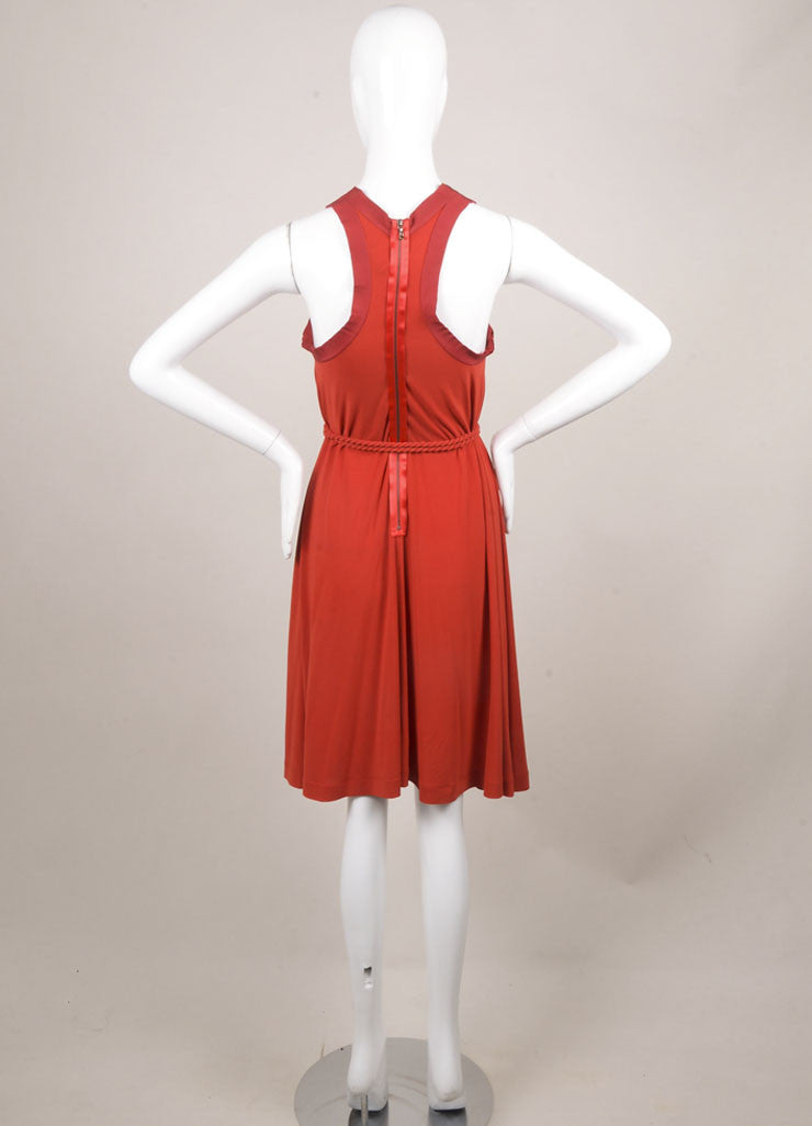 Lanvin Red Jersey Racer Back Rope Belted Trapeze Dress Backview