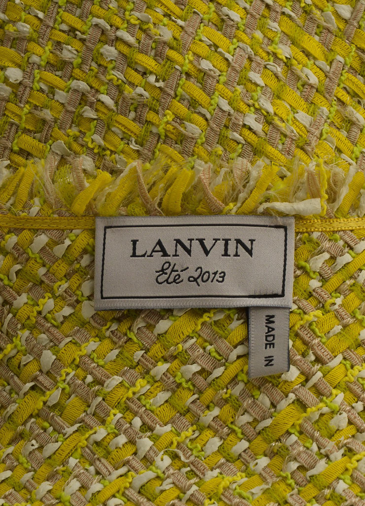 Lanvin Yellow and Green Woven Knit Frayed Trim Pleated Sleeveless Dress Brand