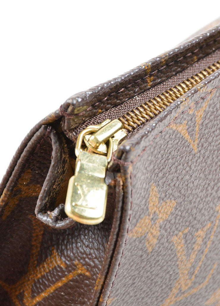"Louis Vuitton Brown Coated Canvas Monogram ""Toiletry Pouch 15"" Bag Detail 2"