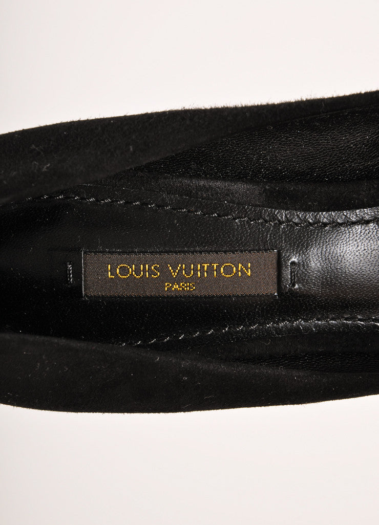 Louis Vuitton Black Suede Leather Tassel Trim Perforated Heeled Pumps Brand