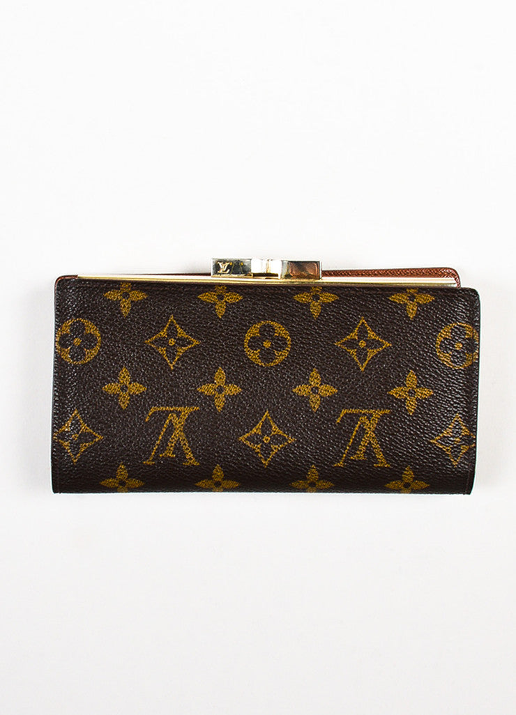 "Louis Vuitton Brown Monogram Canvas ""Long French Purse Wallet"" Backview"