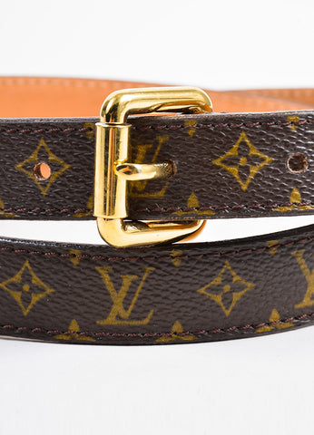 Louis Vuitton Brown Monogram Canvas Skinny Belt Detail