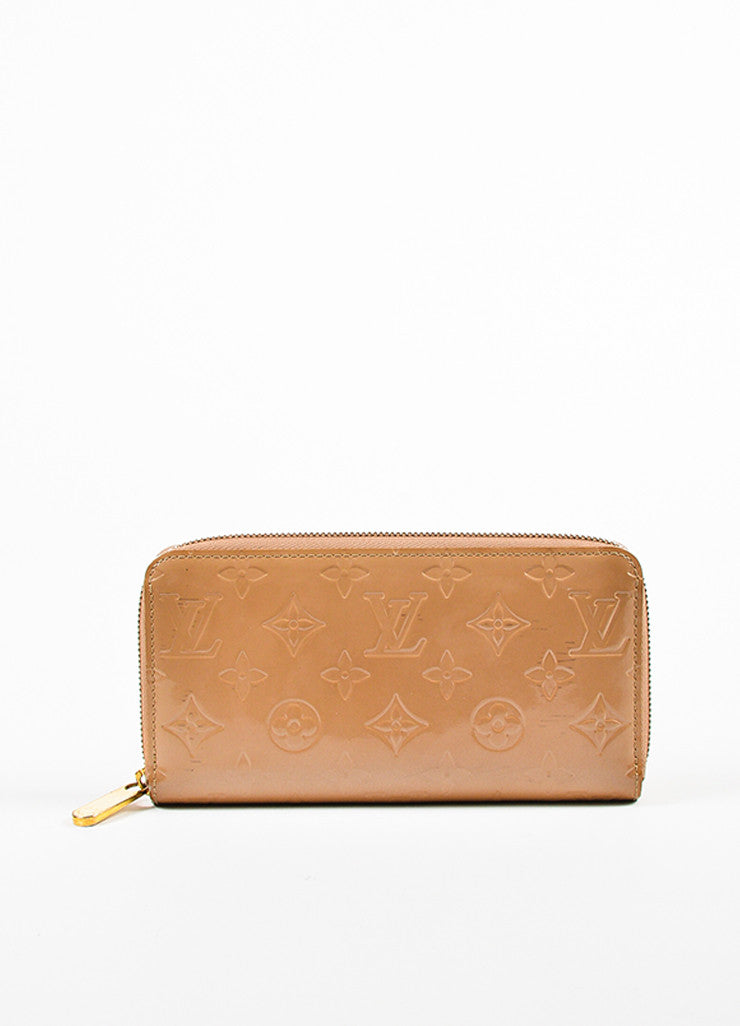 "Louis Vuitton Nude ""Noisette"" Vernis Patent Leather Monogram ""Zippy"" Wallet Frontview"