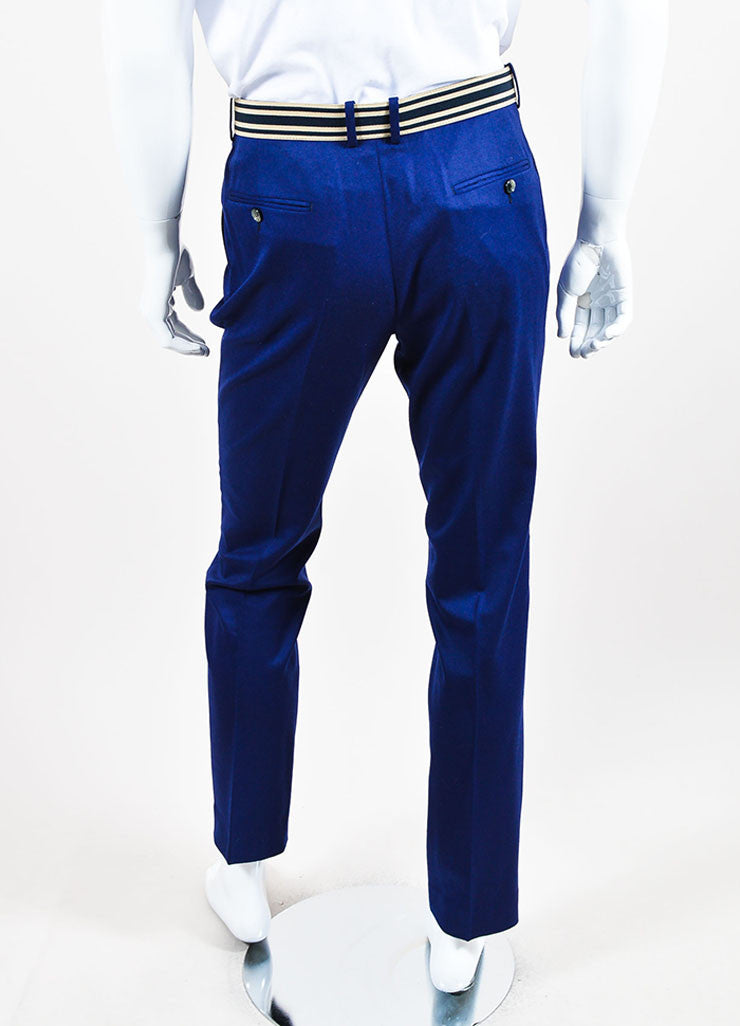 MEN'S Blue Alexander McQueen Striped Pants Back