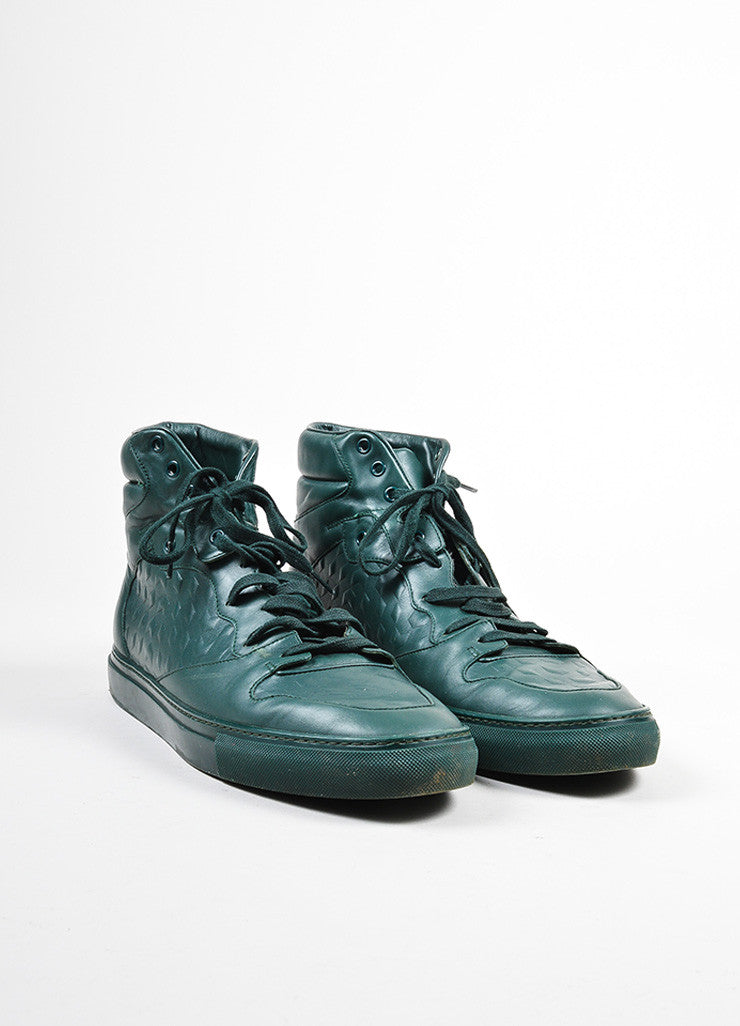 "Men's Balenciaga Green Leather ""Monochrome Debossed"" High Top Sneakers  Frontview"