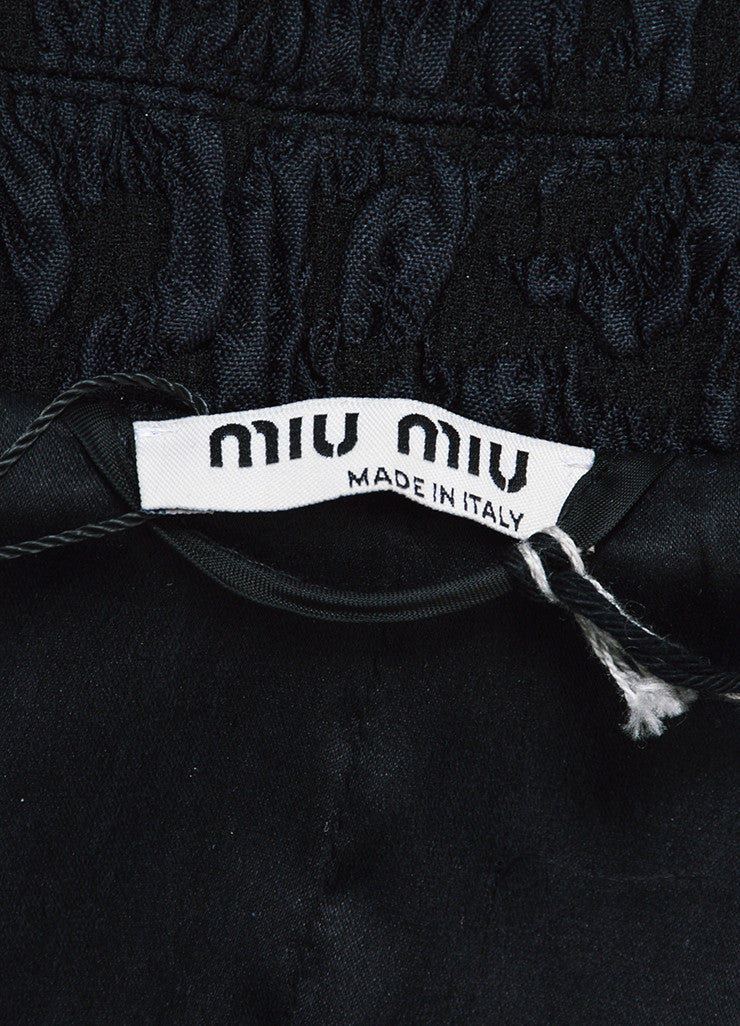 Miu Miu Black Silk Blend Matelasse Cutout Waist Cropped Jacket Brand