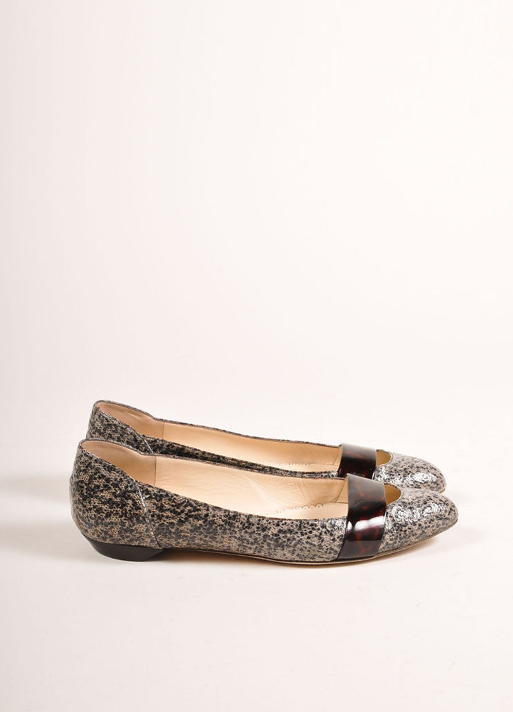 Oscar de la Renta Black and Beige Patent Tweed Tortoise Trim Ballerina Flats Sideview