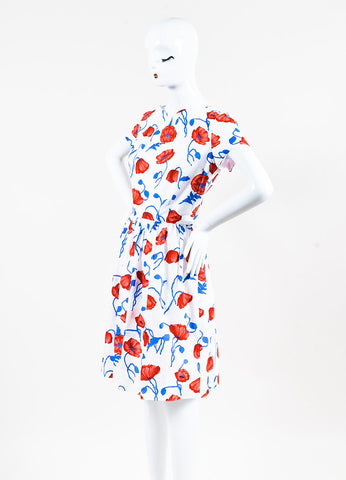 Oscar de la Renta White, Red, and Blue Floral Print Short Sleeve Dress Sideview