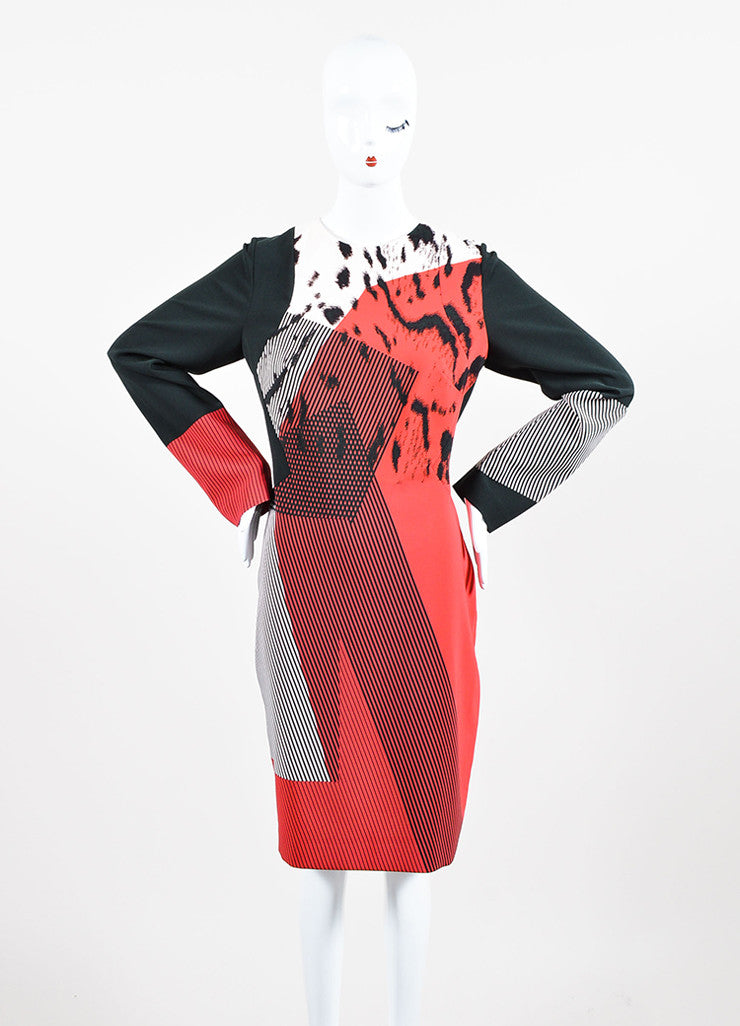 Red, Black, and Blush Prabal Gurung Printed Long Sleeve Shift Dress Frontview