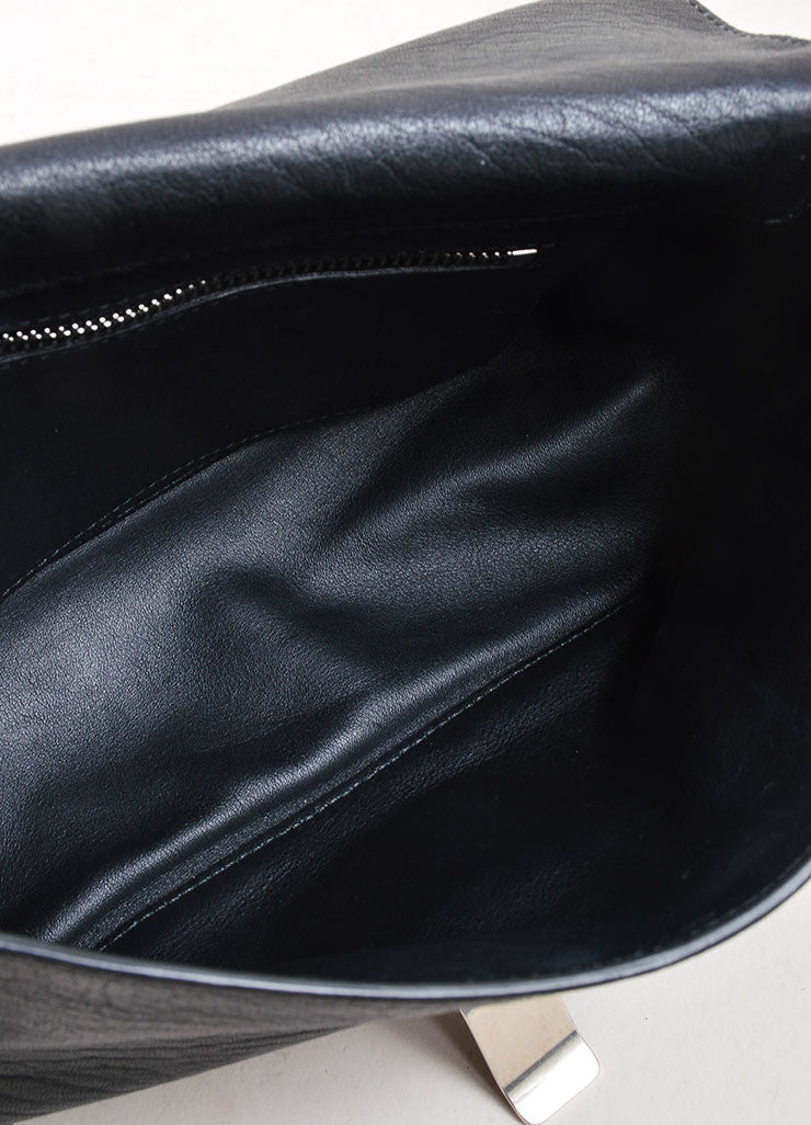 "Black Proenza Schouler Leather Embossed Snakeskin ""Courier"" Shoulder Bag Interior"