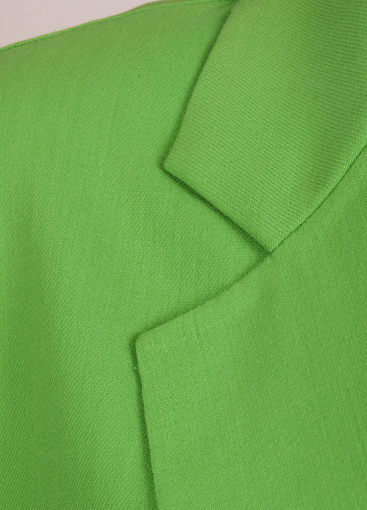 Reed Krakoff New With Tags Green Wool Crepe Long Blazer Jacket Detail