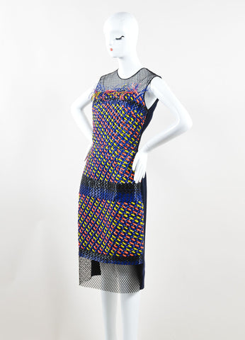 "Roksanda Blue, Yellow, and Coral Woven Plastic Mesh ""Valetta"" Dress Sideview"