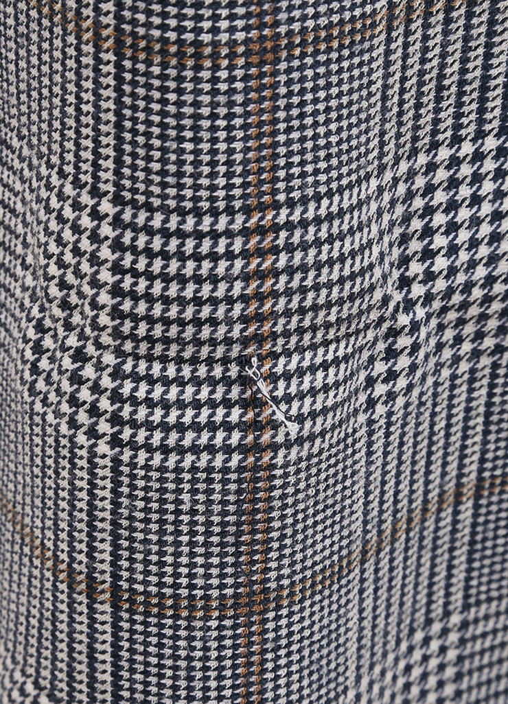 "Rosie Assoulin New With Tags Navy Wool Houndstooth ""Prince of Wales"" Maxi Skirt Detail"
