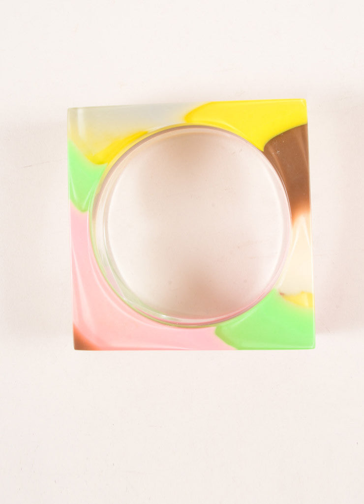 Sobral Multicolor Pastel Resin Square Bangle Bracelet Topview