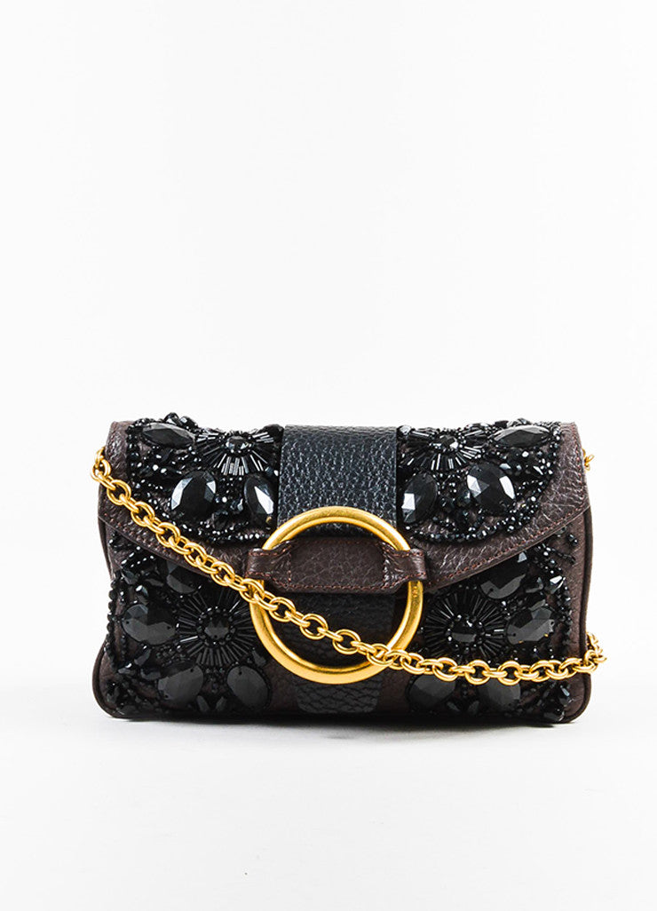 Valentino Brown and Black Leather Beaded Embellished Chain Strap Shoulder Flap Bag Frontview