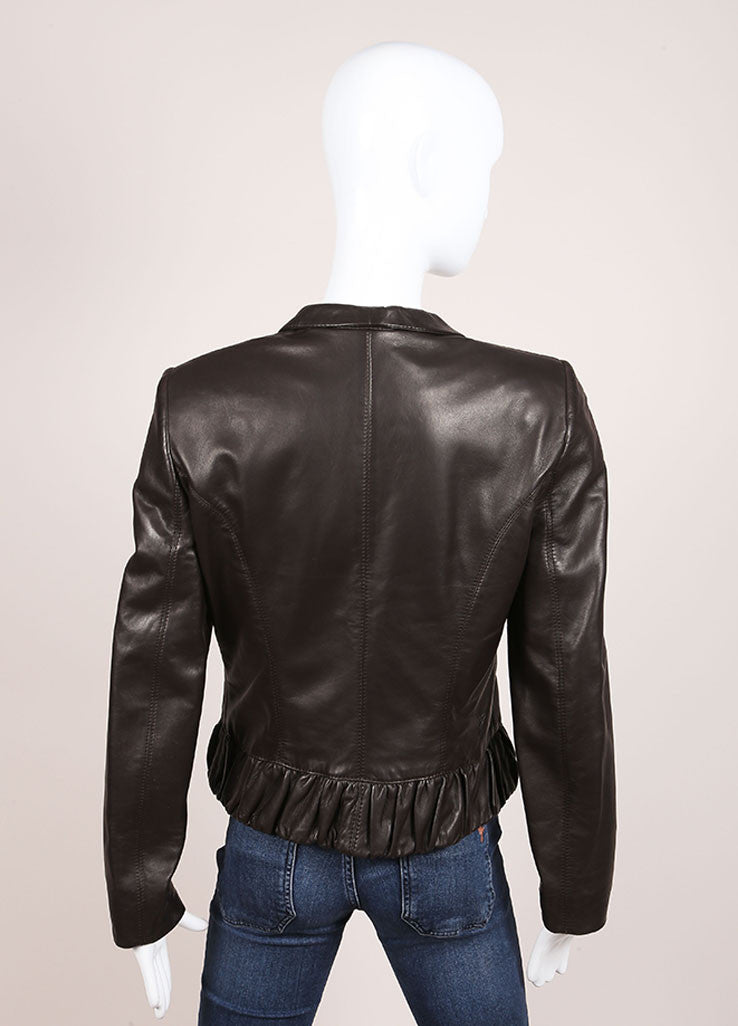 Valentino Brown Bottom Ruffle Leather Jacket Backview