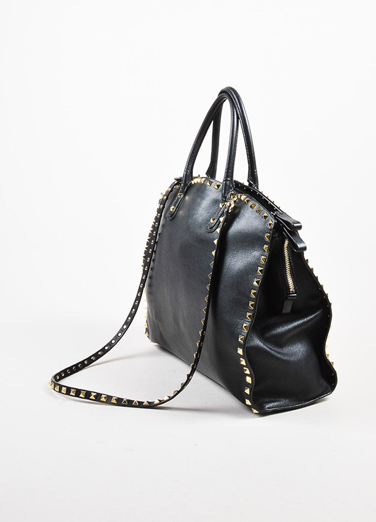 "Valentino Garavani Black and Gold Toned Leather Cross Body ""Rockstud"" Dome Satchel Bag Sideview"