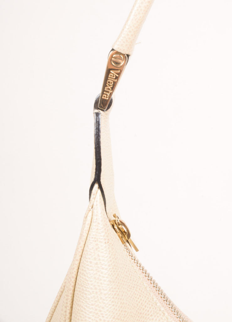 Valextra Beige Grain Leather Hobo Shoulder Bag Detail 1