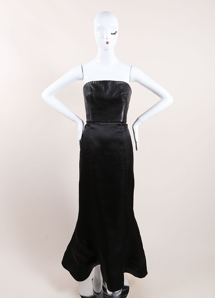 Vera Wang Black Leather and Taffeta Strapless Gown Front