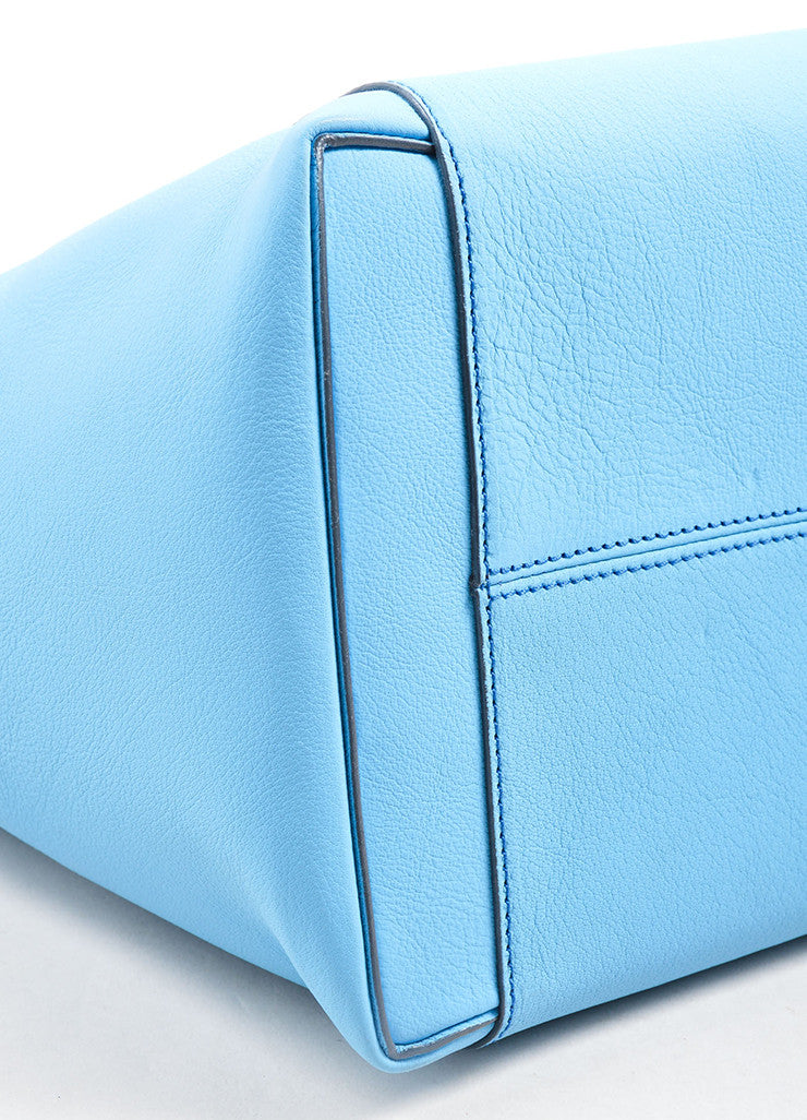 "Victoria Beckham Blue ""Celeste"" Buffalo and Calf Leather ""Liberty"" Tote Bag Detail"