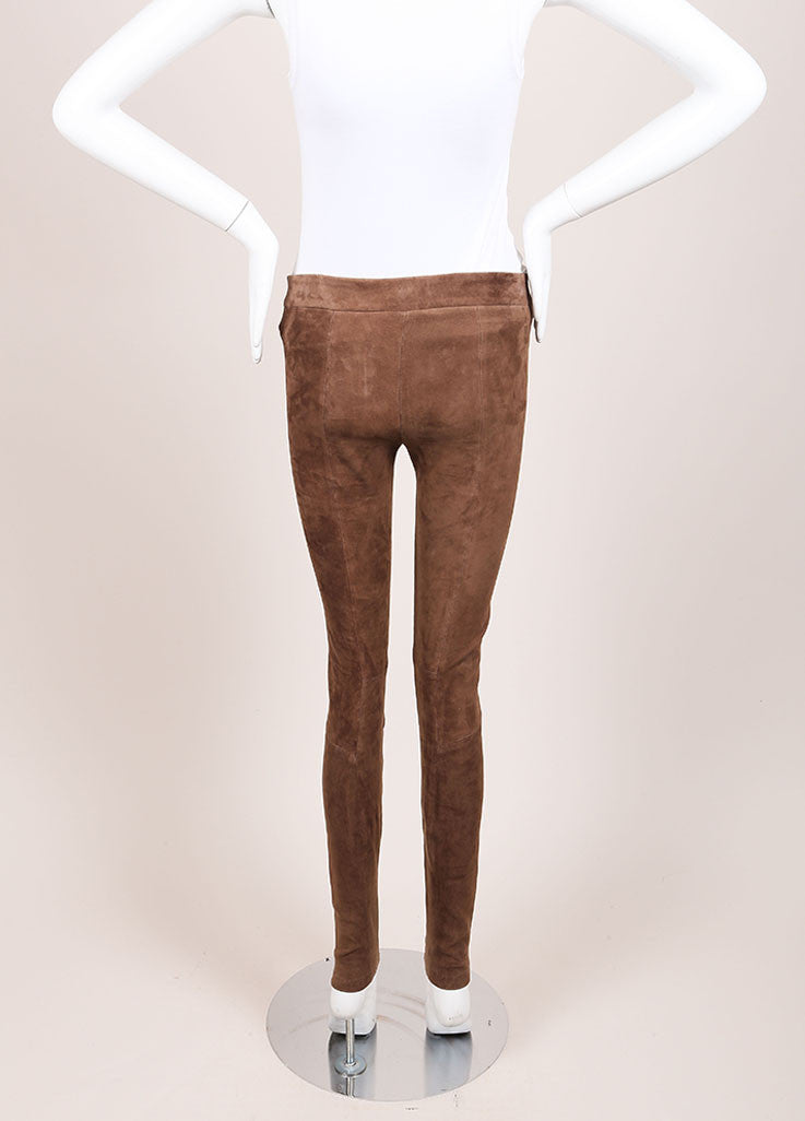 Vince Brown Paneled Suede Leather Leggings Backview